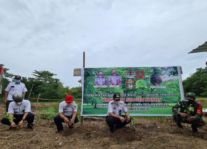 Cegah meluasnya lahan kritis di Wajo, Pemkab, melakukan penanaman pohon dan menyalurkan bantuan 10.000 bibit pohon untuk warga